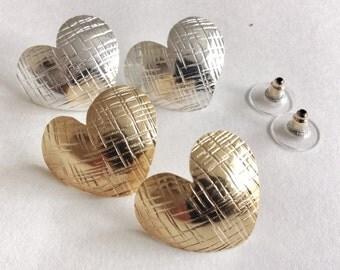 Silver stud earrings, Convex, Gold Earrings, Handmade Earrings, Heart Earrings, Gold Post Earrings, Silver Plate Earrings, Silver Earrings