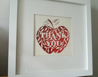 Personalised Teacher thank you Card Papercut Paper cutting.