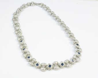 Crystal and Sapphire Necklace, Crystal Silver Necklace, Choker Necklace, Bridal Jewelry