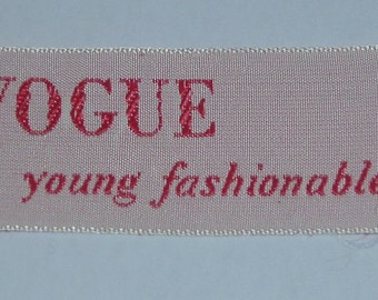 VOGUE 1960s Vintage Sew-In Fabric Label YOUNG FASHIONABLES For Sewing Patterns Rare