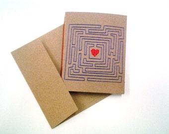 Love Maze - Handmade Greeting Card