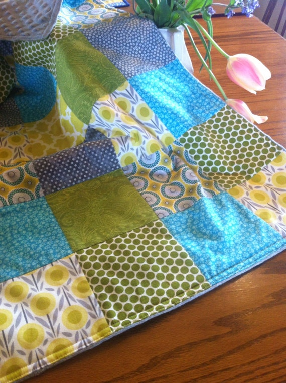 Modern baby quilt with minky turquoise green by twostitchhill for Space minky fabric