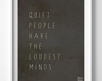 Quiet People Loudest Minds, Inspirational Quote, Stephen Hawking, Room Decor, Giclee Art, Typography Wall Art, Back To School