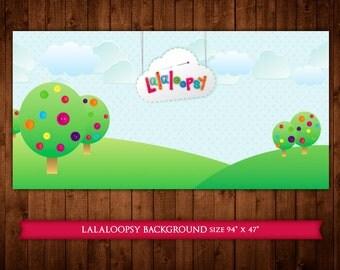 PRINTABLE Lalaloopsy dessert table party backdrop (digital file)