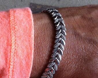 "Ladies 7"" Sterling Silver Art Deco Chevron Design bracelet 18.3 Grams"