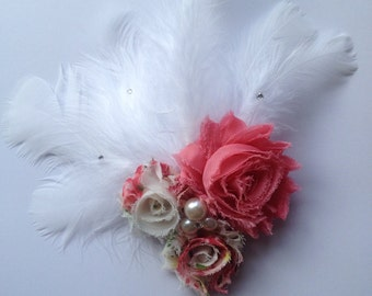 Floral Chiffon Flower and Feather Hair Clip