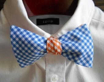 Bow Tie - Florida Blue and Orange Reversible Gingham - Men's self tie