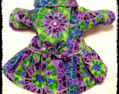 Colorful Small Dog Coat, Stained Glass Star Fabric In Purple, Turquoise, Lime and Shiny Gold, Swarovski Crystals, Fully Lined, Artist Made