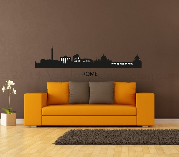 Rome cityscape skyline vinyl wall decal home decor by for Wall stickers roma