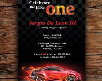 Race Car First  Birthday Invitation