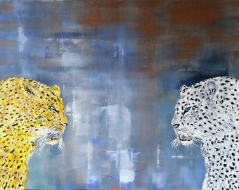 "Leopards - Original Impasto Abstract Acrylic Painting - ""Sub-Rosa 2"""