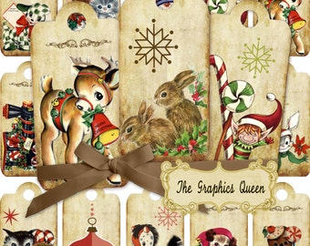 Vintage Christmas Tags Gift Digital Collage Sheet, Labels, Retro Vintage Kids, Printable Graphics, atc aceo INSTANT DOWNLOAD