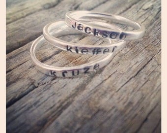 Size 6 Personalized Sterling Silver Rings