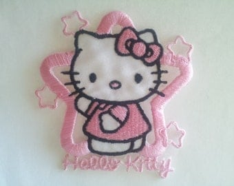 Hello Kitty Pink Star applique iron on patch