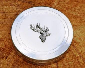 Stag Buck Deer Trinket Box English Pewter Ladies Gift
