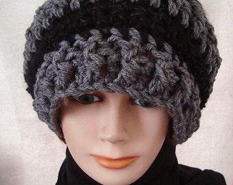 HAT Crochet PATTERN - Unisex hat - adult size- pattern # CH1, Grey and Black slouchy hat, free crochet headband pattern