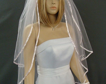 Pink Veil, Ribbon Veil, Wedding Veil Fingertip , 2 Tier Fingertip Veil, Veil With Blusher, Available in any length and several colors!
