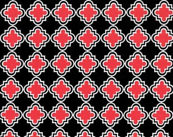 Quatrefoil quilting cotton fabric by the yard in red black by Paula Prass for Michael Miller Fabrics. Need more fabric yardage? Just ask.