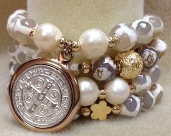 Set of 4 Semiprecious stone bracelets AB1890