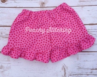 Girls Pink Polka Dot Ruffle Shorts