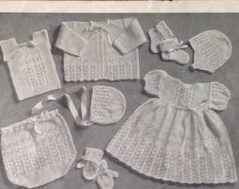 Pattern for 8 knitted baby garments. Vintage pattern.