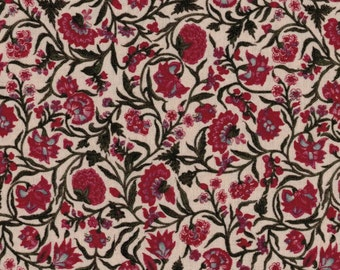 BY THE PIECE Red Floral Print Fabric Reproduction Historical Quilting Cotton Doll Clothes Past Crafts 17th 18th Century Flowers