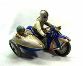 Vintage Wind-Up Tin Toy Motorcycle and Side Car