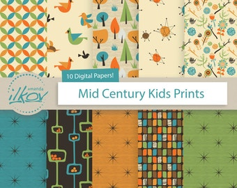 Mid Century Kids of the 1950's Digital Papers - Retro Digital Paper, Vintage Digital Paper, Mid Century Digital Paper