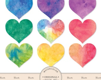 Hand Painted Bright Watercolor Hearts Clipart - Watercolor Heart Clip Art, Hearts Clipart, Rainbow Hearts, Heart Clip Art