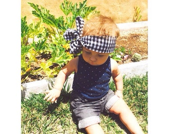 Black and white gingham headwrap- black baby headwrap-white headwrap-adult headwrap-girls turban
