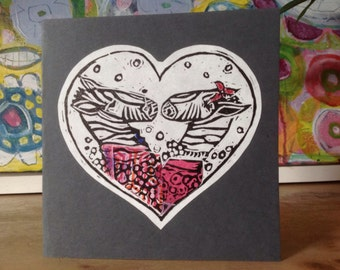 Hand printed lino cut greetings card - Zebra Love