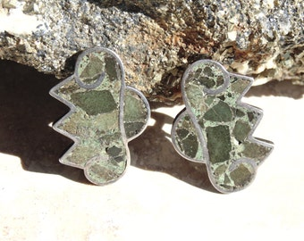 Vintage Mexico Sterling Silver and Inlaid Camouflage Stone Screw Back Earrings