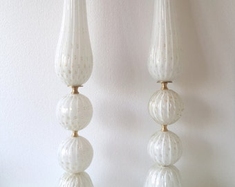 Murano Glass white and gold lamps pair