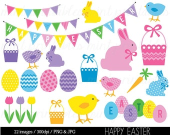 Easter Clipart Clip Art, Happy Easter Clipart, Easter Bunny, Easter Eggs, Easter Basket Bunting - Commercial & Personal - BUY 2 GET 1 FREE!