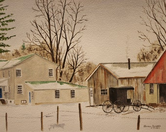"Watercolor painting,art,""AMISH FARM"",Lancaster PA , Snowy paintingl art Amish barns Barn painting  Landscape painting Amish carr"