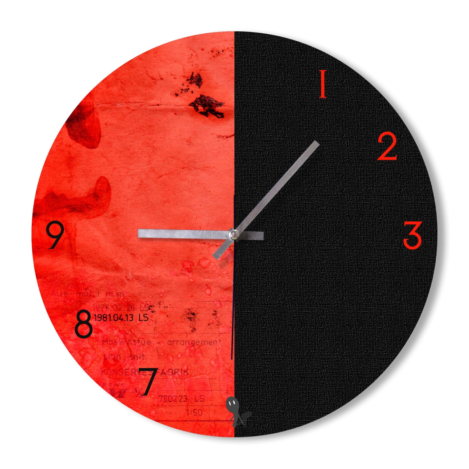 Wall clock black and red clock home decoration wall by for Red and black wall clock