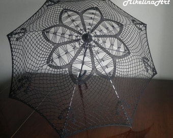 Crochet Handmade Umbrella,Decorative Summer Umbrella, Black, 100% Cotton