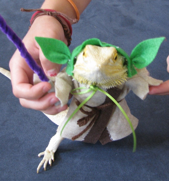 Yoda Costume for Bearded Dragon with Plastic Lightsaber! Now with two sizes!