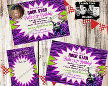 Chuck E Cheese Girl ROCK STAR Zebra Print Party Invitation with or without PHOTO. Includes Thank You cards. Printable.