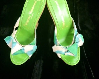 Vivienne Westwood tiki canvas wooden wedge shoes rare collectors item
