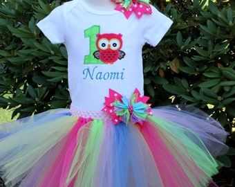 Look Whoo's Turning One 1 1st Owl Birthday Top Tutu Hair Bow Set
