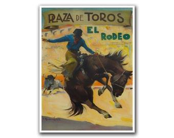 Vintage Rodeo Poster Mexico Travel Art Print Western Decor (H48)
