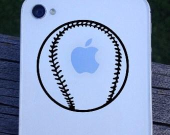 Baseball on iPhone - iPhone Decal/Sticker