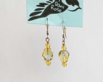 Yellow and blue glass dangle earrings