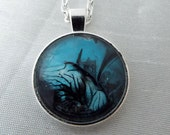 Pendant, Necklace, HAUNTED HILL, Blue, Halloween, Dark, Spooky, Black, Scary, Haunted House, Goth, Spooky, Costume Jewelry, painted, punk