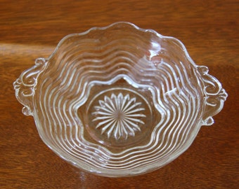 Vintage Ocean Wave.. Pattern # 17.. Handled Glass Bowl from Anchor Hocking
