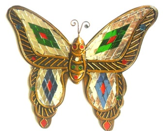 mosaic butterfly glass art multicolor handmade mirror mosaics art home decor handcrafted hand wood carved wood gift 75 x 65 carved solid mango wood