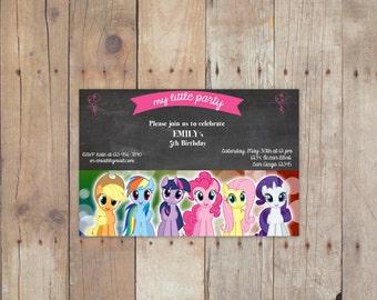 My little pony birthday invitation card /4x6/ 5x7/digital file/printable