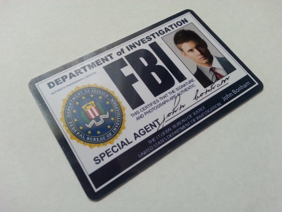 Supernatural Holographic FBI Id Card Dean By Malinkocrafts