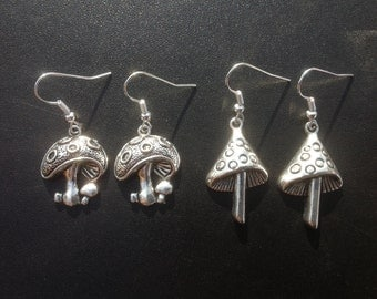 Silver Toadstool Earrings With Silver Plated, Stainless Steel, Hypoallergenic Titanium OR Sterling Silver Ear Wires - Alice In Wonderland